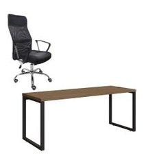 mesa de escritório kappesberg 1.90m com cadeira trevalla tl-cde-02-1b