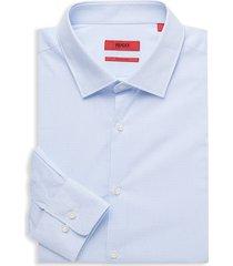 hugo hugo boss men's mabel regular-fit silk-blend dress shirt - blue - size 16.5 l