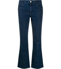 stella mccartney star-embossed kick-flare jeans - blue