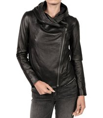 handmade women hooded leather jacket, women leather jacket, women fashion jacket