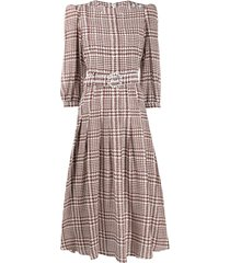 alessandra rich tweed-print flared midi dress - brown