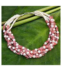 cultured pearl beaded necklace, 'snow cherry' (thailand)
