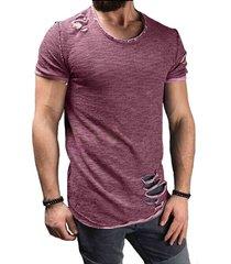 verano de algodón camiseta de los hombres de la moda del agujero-púrpura