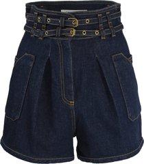 belted waist denim shorts