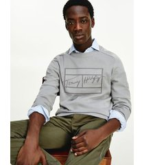 tommy hilfiger men's signature relaxed fit sweatshirt antique silver - xs