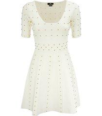 elisabetta franchi knit mini dress with small studs
