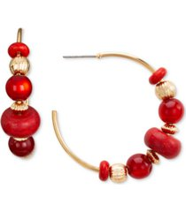 "style & co gold-tone medium red beaded c-hoop earrings, 1.5"", created for macy's"