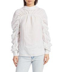 baum und pferdgarten women's dance morrigan stripe ruched-sleeve blouse - white - size 40 (10)