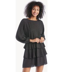 1.state women's modern speckle allover ruffle dress in color: rich black size xs from sole society