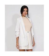 blazer feminino longo com bolsos manga 7/8 off white