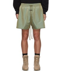 elongated drawstring waist iridescent twill shorts
