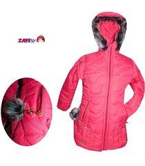 chaquetón térmico- rojo cereza- con capucha - fashion