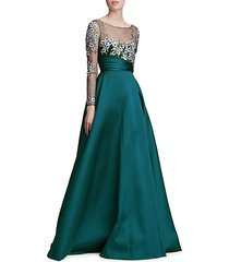 illusion embroidery ball gown