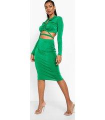 geplooide blouse met strik en textuur en midi rok, bright green