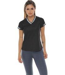 camiseta básica, color negro para mujer