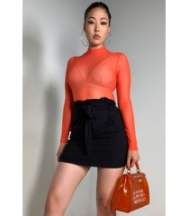 akira socialite paper bag waist belted mini skirt