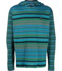 acne studios striped long-sleeved hoodie - green