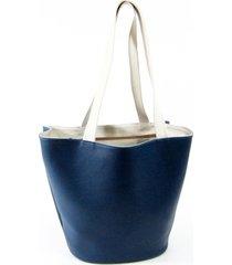 bolsa sacola em material sintético maria adna azul e branco