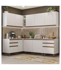 cozinha completa de canto madesa reims 382002 com armário e balcão branco branco