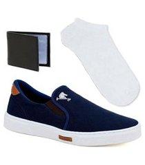 tênis sapatenis sapato iate elastico polo joy kit e meia branca e carteira slim