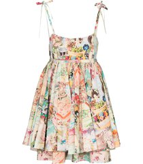 the marc jacobs babydoll cake print dress - multicolour