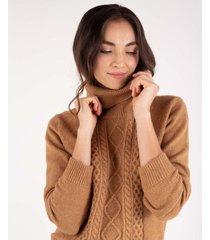 suéter tejido para mujer café manga larga con diseño trenzado