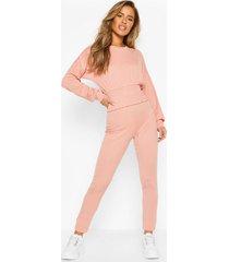 petite rib shirred waist top & legging co-ord, rose pink