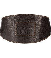 gianfranco ferré pre-owned 2000s logo-embossed wide belt - blue