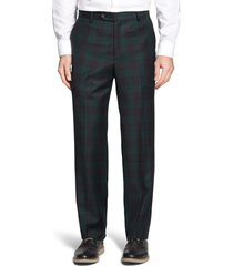 men's berle touch finish flat front classic fit plaid wool trousers, size 42 x unhemmed - green