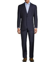 saks fifth avenue men's tailored fit pinstriped wool suit - navy - size 40 r