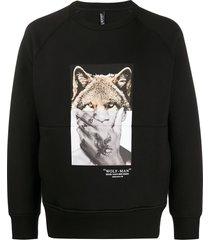 neil barrett wolf-man print sweatshirt - black