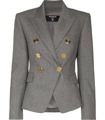 balmain fitted double-breasted blazer - grey