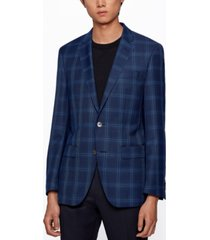 boss men's checked slim-fit jacket