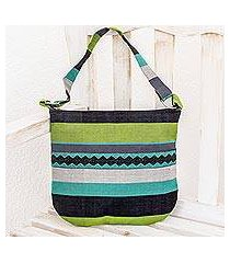 cotton shoulder bag, 'luscious green' (guatemala)