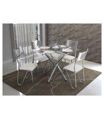conjunto mesa volga com 4 cadeiras napoles branco e cromado kappesberg crome