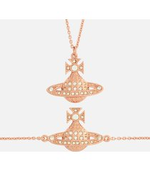 vivienne westwood women's minnie bas relief pendant and bracelet giftset - crystal/rose gold