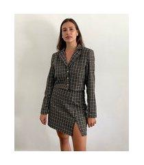 blazer feminino mindset cropped estampado xadrez preto
