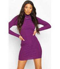 long sleeve neon mini dress, purple