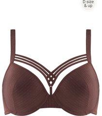 dame de paris plunge bh | wired padded brown with golden lurex - 80g