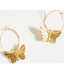 women's fiona butterfly charm hoops in gold by francesca's - size: one size