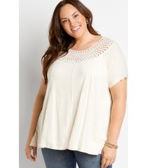 maurices plus size womens oatmeal macrame neck top beige