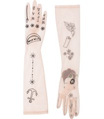 tender and dangerous frida kahlo embroidered gloves - neutrals
