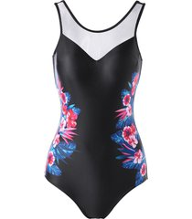 one-piece flower print open back swimwear