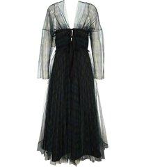 philosophy di lorenzo serafini philosophy tulle tartan long dress