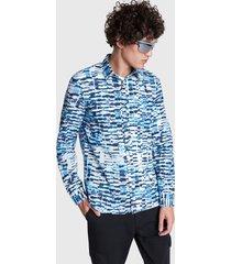 camisa desigual slim adel multicolor - calce slim fit