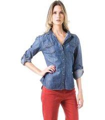 camisa bloom jeans ajustada feminina