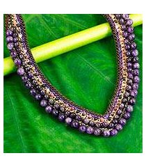 amethyst beaded necklace, 'violet whispers' (thailand)