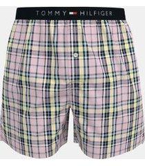 tommy hilfiger men's woven boxer pale lilac multi plaid - xl