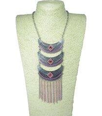 collar plateado fucsia sasmon ref cl-12632