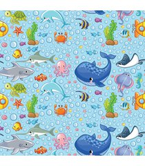 papel de parede fundo do mar infantil 57x270cm - multicolorido - dafiti